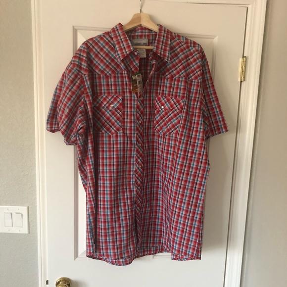 NWT Wrangler Red Plaid Button Dressy Shirt
